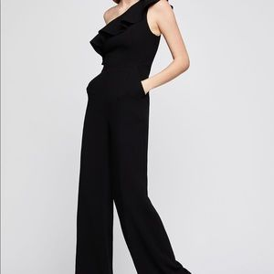 One Shoulder Ruffle Jumpsuit Black, New With Tags